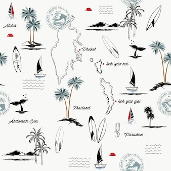Bezszwowy wzór wyspa phuket w thailand raju