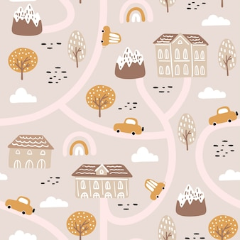 Bezszwowy wzór z abstrakcjonistycznym miasta życiem, domami, samochodami i kwiecistymi elementami.