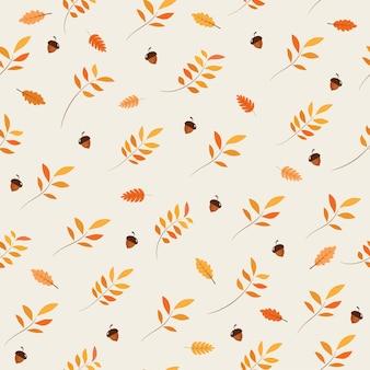Bezszwowy wzór z acorns i jesień liśćmi.