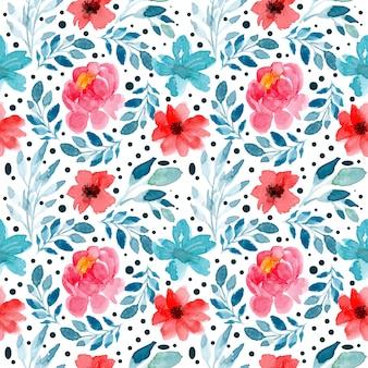 Bezszwowy wzór z akwarela kwiecistym czerwonym kwiatem