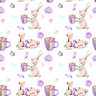 Bezszwowy wzór z akwarela ślicznymi królikami i marshmallow