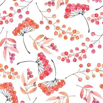 Bezszwowy wzór z akwareli czerwonymi i pomarańczowymi jagodami