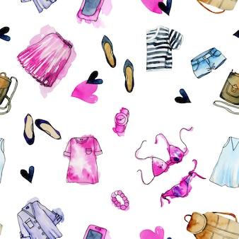 Bezszwowy wzór z akwareli damską odzieżą