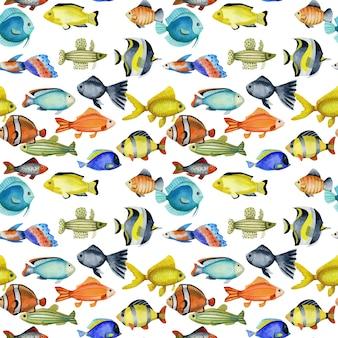 Bezszwowy wzór z akwareli oceanicznymi ryba