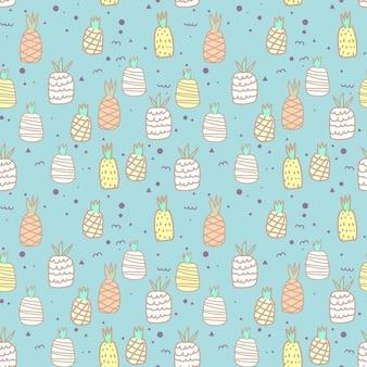 Bezszwowy wzór z ananasem. ilustracje wektorowe na projekt opakowania na prezent.