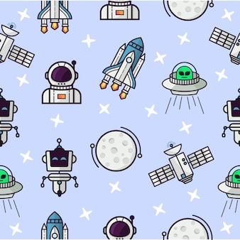 Bezszwowy wzór z astronautycznym tematem