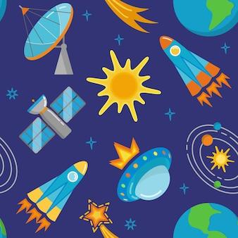 Bezszwowy wzór z astronautycznymi ikonami