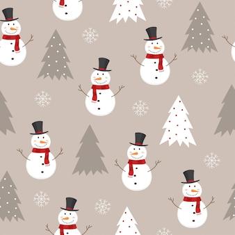Bezszwowy wzór z bałwanem, choinkami i płatkami śniegu.