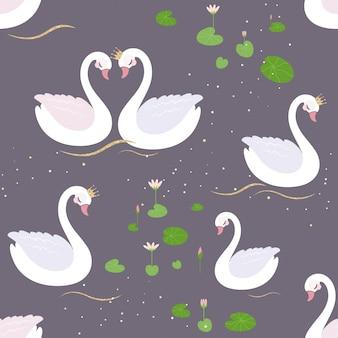 Bezszwowy wzór z białymi łabędź i wodą lillies.