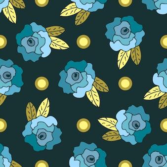 Bezszwowy wzór z błękitnymi ręka rysować różami i kropkami