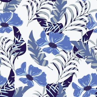Bezszwowy wzór z błękitnymi tropikalnymi liśćmi i kwiatami
