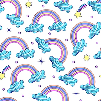 Bezszwowy wzór z chmurami, tęczami i gwiazdami na białym tle.