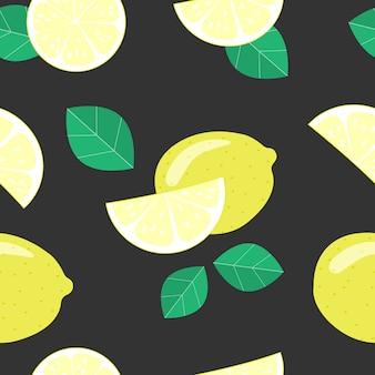 Bezszwowy wzór z cytrynami na czarnym tle.