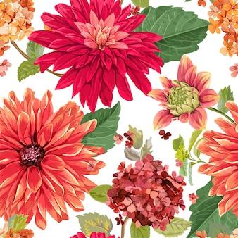 Bezszwowy wzór z czerwonymi astery kwiatami