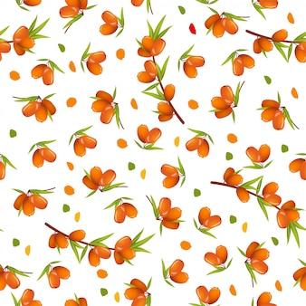 Bezszwowy wzór z dennym buckthorn i liśćmi ilustracyjnymi