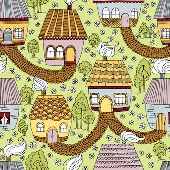 Bezszwowy wzór z domami i drzewami