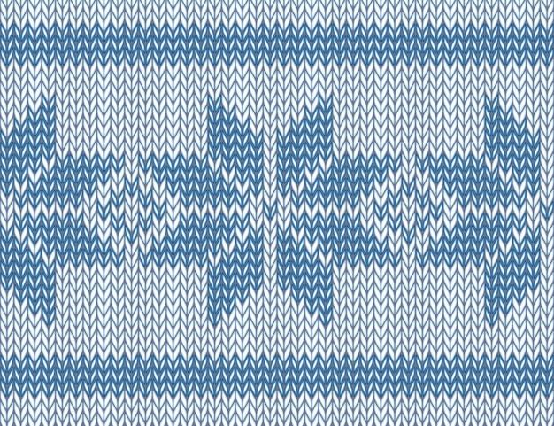 Bezszwowy wzór z dzianiny z niebieskimi płatkami śniegu. ilustracja