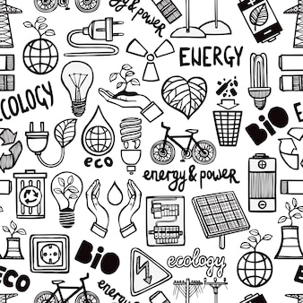 Bezszwowy wzór z energetycznymi symbolami