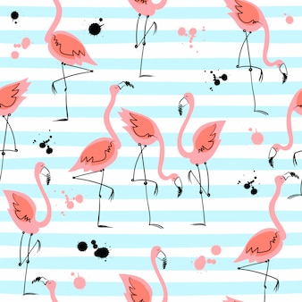 Bezszwowy wzór z flamingami