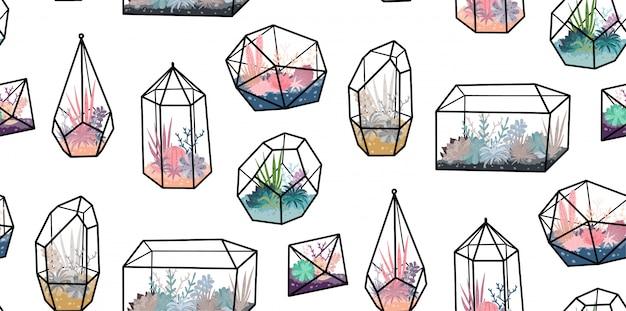 Bezszwowy wzór z geometrycznymi terrariami z roślinami, sukulentem, kaktusem. wystrój domu w stylu skandynawskim. szklane kryształowe floraria