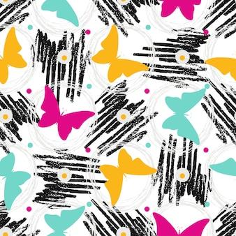 Bezszwowy wzór z grunge teksturami i motylami. ręcznie rysowane moda hipster tło. wektor do druku, tkaniny, tekstylia, opakowania
