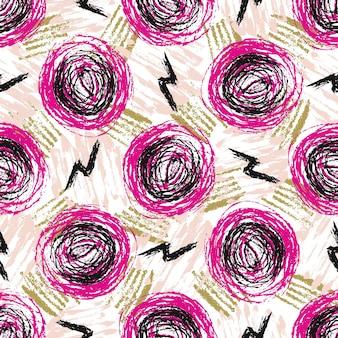 Bezszwowy wzór z grunge teksturami. ręcznie rysowane moda hipster tło