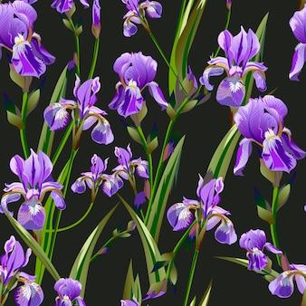 Bezszwowy wzór z irysowymi kwiatami