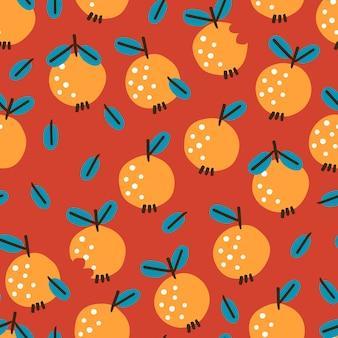 Bezszwowy wzór z jabłkami na czerwonym tle