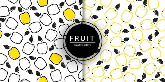 Bezszwowy wzór z jabłkami w doodle stylu, owocowa tapeta.