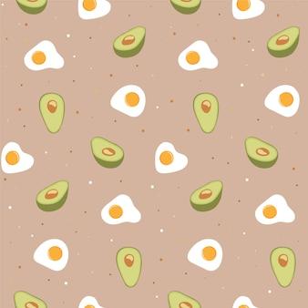 Bezszwowy wzór z jajkiem i avocado.