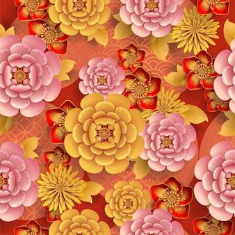 Bezszwowy wzór z japońskimi elementami