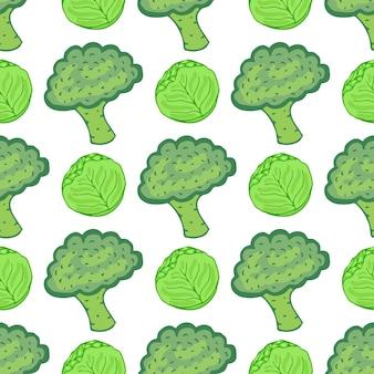 Bezszwowy wzór z kapustą i brokułami. wektorowa ilustracja z ręka rysującą zdrową jarzynową mieszanką. idealny do pakowania, pakowania papieru