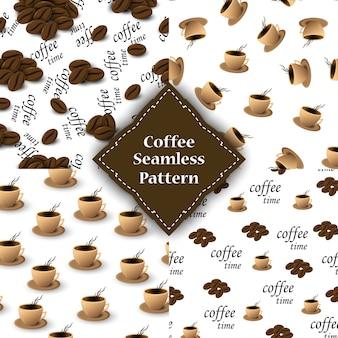 Bezszwowy wzór z kawowymi fasolami i filiżankami dla pakować