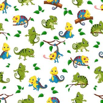 Bezszwowy wzór z kolekcją kameleon