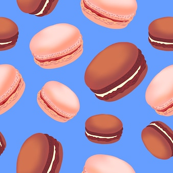 Bezszwowy wzór z kolorowymi macaroon ciastkami na białym tle.