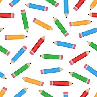 Bezszwowy wzór z kolorowymi ołówkami.