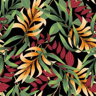 Bezszwowy wzór z kolorowymi tropikalnymi liśćmi i roślinami