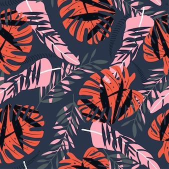 Bezszwowy wzór z kolorowymi tropikalnymi roślinami
