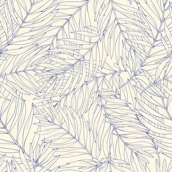 Bezszwowy wzór z konturowymi tropikalnymi palmowymi liśćmi. charakter tła.