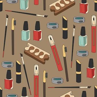 Bezszwowy wzór z kosmetykami