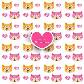 Bezszwowy wzór z kotami i sercami