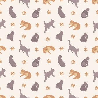 Bezszwowy wzór z kotami