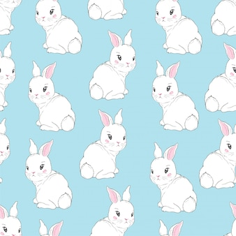 Bezszwowy wzór z kreskówek królikami dla dzieciaków