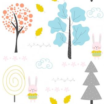Bezszwowy wzór z królikiem i lasowymi drzewami