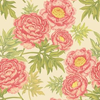 Bezszwowy wzór z kwiat różami, peoniami.