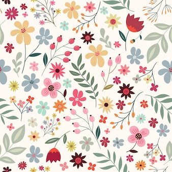 Bezszwowy wzór z kwiatami i roślinami