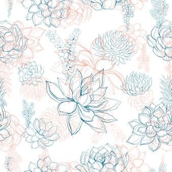 Bezszwowy wzór z kwiatami i sukulentami.