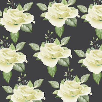 Bezszwowy wzór z kwiatowymi liściami akwarelowym
