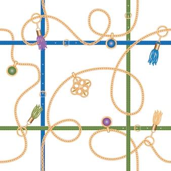 Bezszwowy wzór z łańcuchami