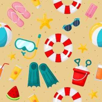 Bezszwowy wzór z lato ikonami. podróż i turystyka